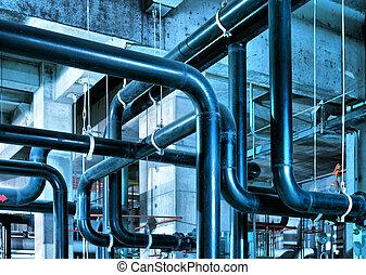 industrial, zona, tubería