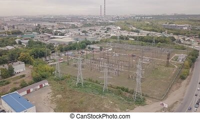 Industrial zone with power plant aerial view