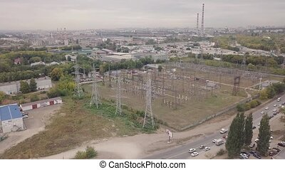 Industrial zone aerial - Industrial zone with power plant...