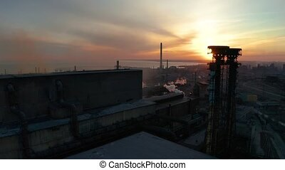 Industrial zone at sunset. Aerial view