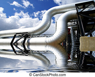 Industrial zone, Steel pipelines and equipment with reflection