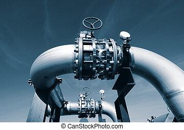 Industrial zone, Steel pipelines and valves - Industrial...