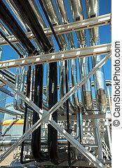 Industrial zone. Steel pipelines