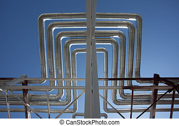 Industrial zone. Steel pipelines