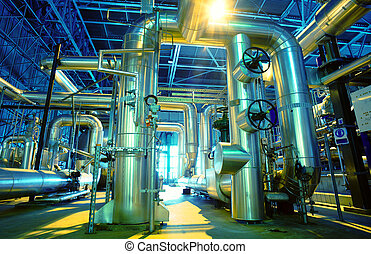 Industrial zone, Steel pipelines, valves and cables -...