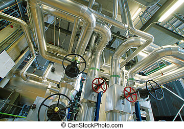 Industrial zone, Steel pipelines, valves and pumps - ...