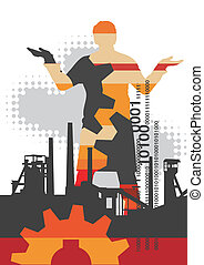 Industrial_background with male silhouette. Vector...