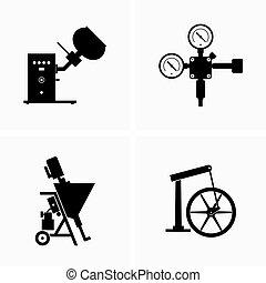industriale, apparato, tipi, apparecchiatura, differente
