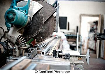 industriale, attrezzo, taglio, composto, mitra, fabbrica, sega, scorrevole