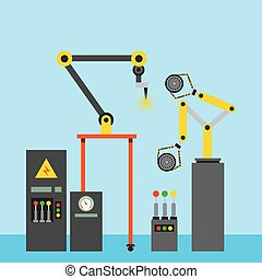 industriale, automobile, macchina, computer, pneumatico, braccio robotizzato, saldatura