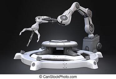 industriale, braccio, robot, fantascienza