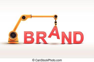 industriale, braccio robotizzato, costruzione, marca, parola