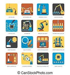 industriale, catena montaggio, appartamento, icone, set