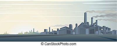 industriale, cityscape, vettore