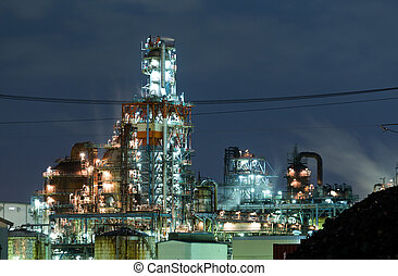 industriale, complesso, notte