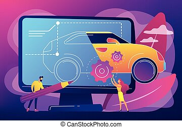 industriale, concetto, disegno, illustration., vettore