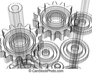 industriale, -, concetto, disegno, ingranaggi