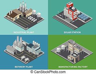 industriale, costruzioni, set, icone, concetto