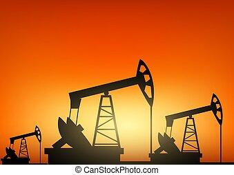 industriale, energia, macchina, pompa, piattaforma petrolifera