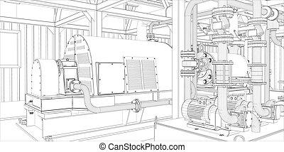 industriale, equipment., wire-frame, render, 3d