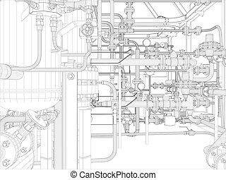industriale, equipment., wire-frame, render