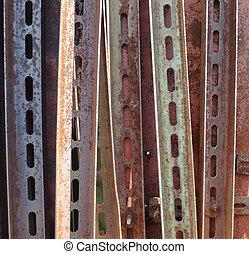 industriale, fondo., angoli, metallo, perforation., arrugginito, invecchiato