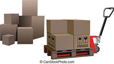 industriale, forklift, carico