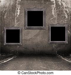 industriale, grunge, stanza, portato, interno, superficie, vecchio