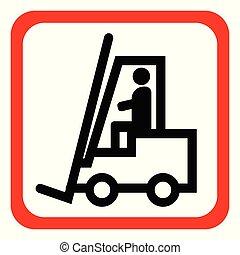 industriale, illustration., camion, segno., forklift, veicoli, vettore, altro