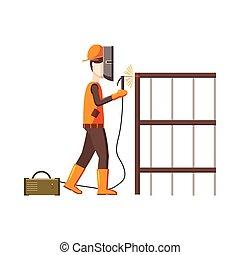 industriale, lavoratore costruzione, saldatore, icona