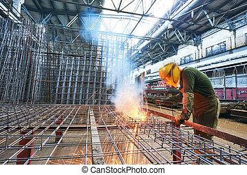 industriale, lavoro, arco, saldatura