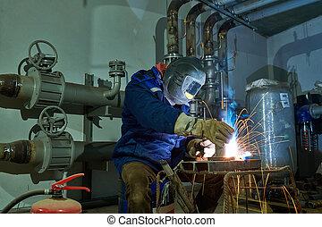 industriale, lavoro, lavoratore, saldatore arco, saldatura