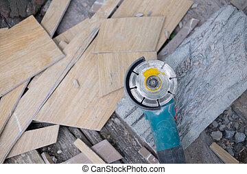industriale, macinatore, attrezzo, mano, taglio, marmo