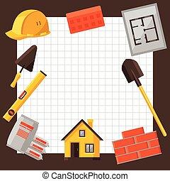 industriale, oggetti, alloggio, costruzione, disegno, fondo