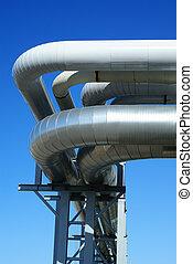 industriale, oleodotti, contro, cielo blu