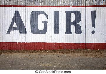 industriale, parete, senegal, azione, messaggio, ora