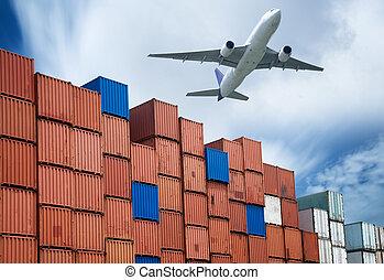 industriale, porto, con, contenitori, e, aria