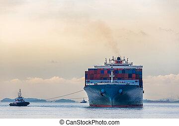 industriale, porto, nave contenitore