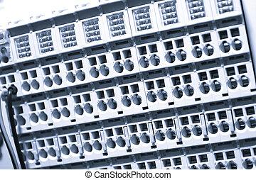 industriale, potere, caso, pannello, con, circuit-breakers