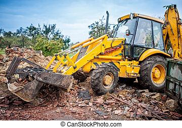 industriale, scavatore, lavorativo, idraulico, frantoio, macchinario