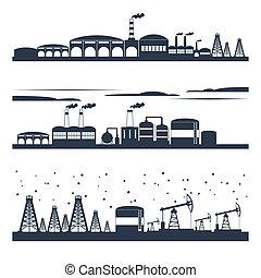 industriale, skyline città, bandiere