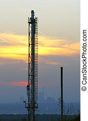 industriale, tramonto, paesaggio