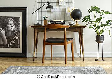 industriale, ufficio, mid-century, cuoio, moderno, posto, lampada, retro, scrivania, interno, casa, bianco, sedia, macchina scrivere