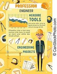 industriale, uomo, costruttore, attrezzi, o, ingegnere