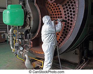 industriale, vapore, pulito, caldaia