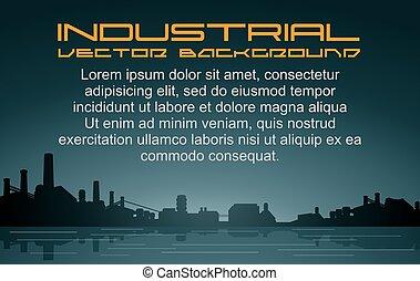 industriale, vettore, fondo, cityscape.