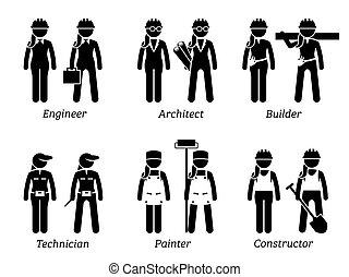 industriale, women., occupazioni, lavori, lavori in corso, costruzioni