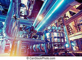 industriale, zona, acciaio, oleodotti, in, toni blu
