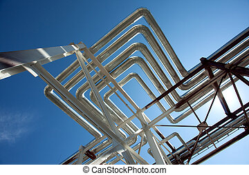 industriale, zone., acciaio, oleodotti