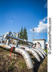 industrias, de, aceite, refinar, y, gas